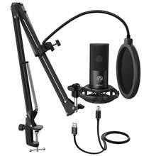 FIFINE Studio – Kit de Microphone d'ordinateur USB à condensateur, avec support de bras à ciseaux réglable, support antichoc pour YouTube Voice Overs-T669