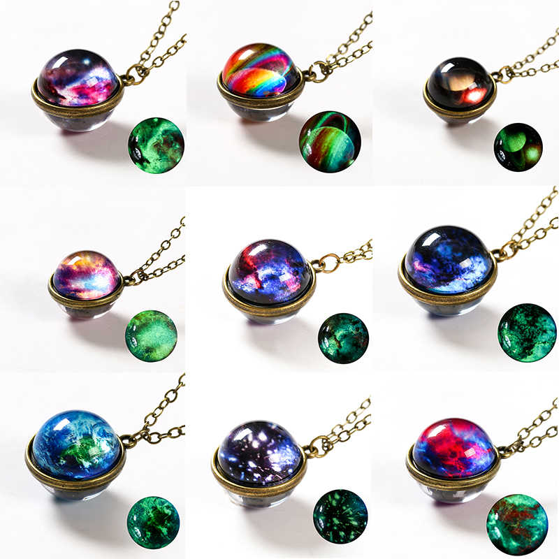 Fashion Solar System Planet Galaxy Double Side Glass Cosmic Pattern Pendant Necklace Chain Man Women Necklace Classic Jewelry
