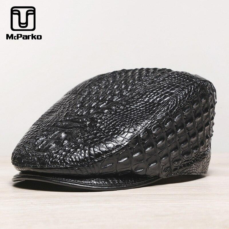 McParko Authentic Crocodile Beret Hat Men Cap Genuine Leather Winter Hat Peaky Blinder Croco Men Berets Luxury Brand Style Black 1