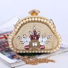Роскошные женские вечерние сумки с искусственным жемчугом золотого