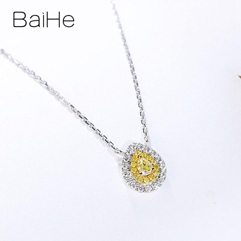 Baihe sólido 18 k ouro branco total 0.28ct h/si pêra + diamantes naturais redondos + diamantes amarelos mulheres na moda presente de casamento colares - 3