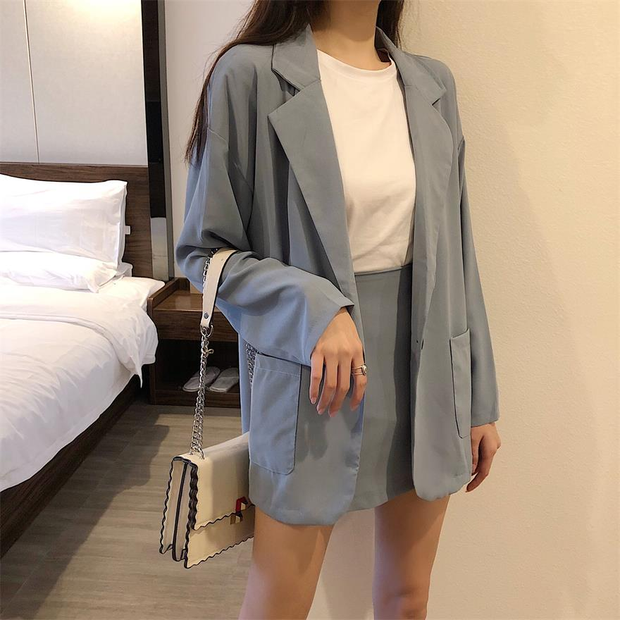 Two Piece Skirt Set 2019 Single Button Long Sleeve Jacket Femme+Short Pencil Skirt Suit Korean Chiffon 2 Piece Outfits For Women