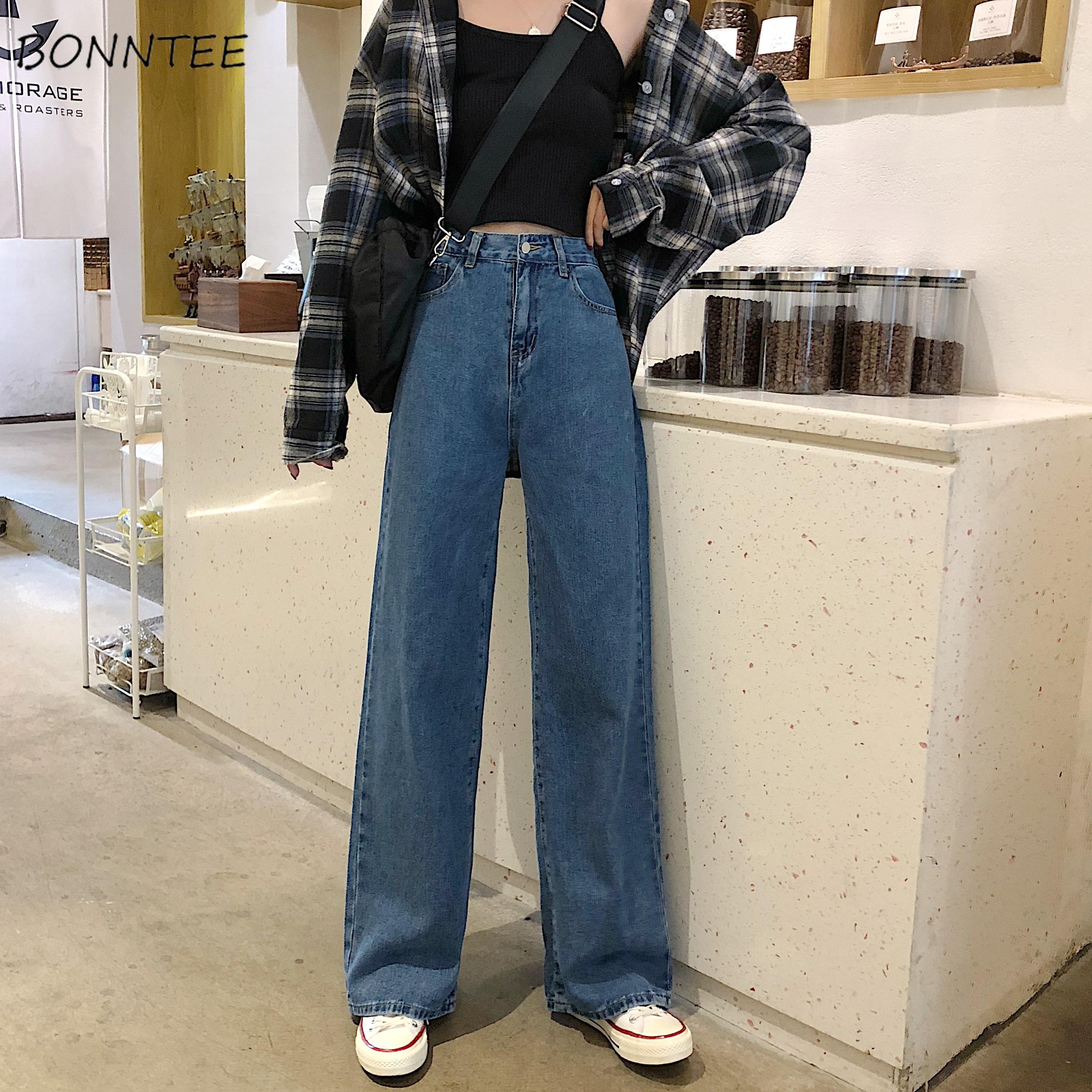Jeans Women Denim Long Trousers Straight Korean Style Pockets Womens High Waist Casual Loose Students Streetwear Harajuku Chic