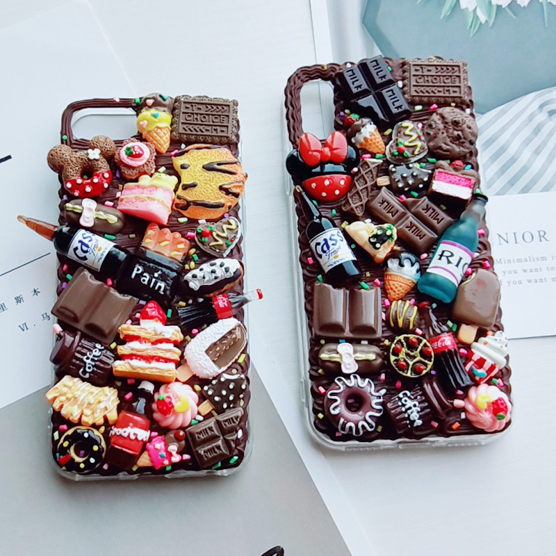 Cute DIY case for iPhone X/XS 3D chocolate phone cover for ip11 pro max handmade creamy shell XS MAX XR girl gift ip6/6s 7/8plus image