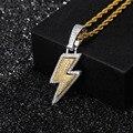 Alta qualidade relâmpago pingente cheio iced para fora zircónio cúbico ouro flash chain colar tênis corrente hip hop jóias presente