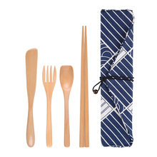 Portable Spoon Fork Chopstick Japanese Style Tableware Camping Cutlery Set Wooden Travel With Cloth Bag Utensil Picnic Straw(China)