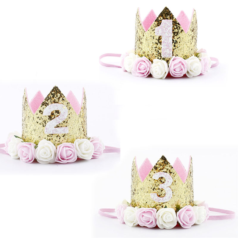 Girls Birthday Party Hats Flower Princess Crown 1st 2nd 3rd Year Old Number Decor Cap One First Birthday Party Hat Toys For Kids