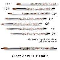 100% Nylon paznokci akrylowych pędzelek w płynie uchwyt do profesjonalny manicure w proszku żel UV pędzelki do paznokci
