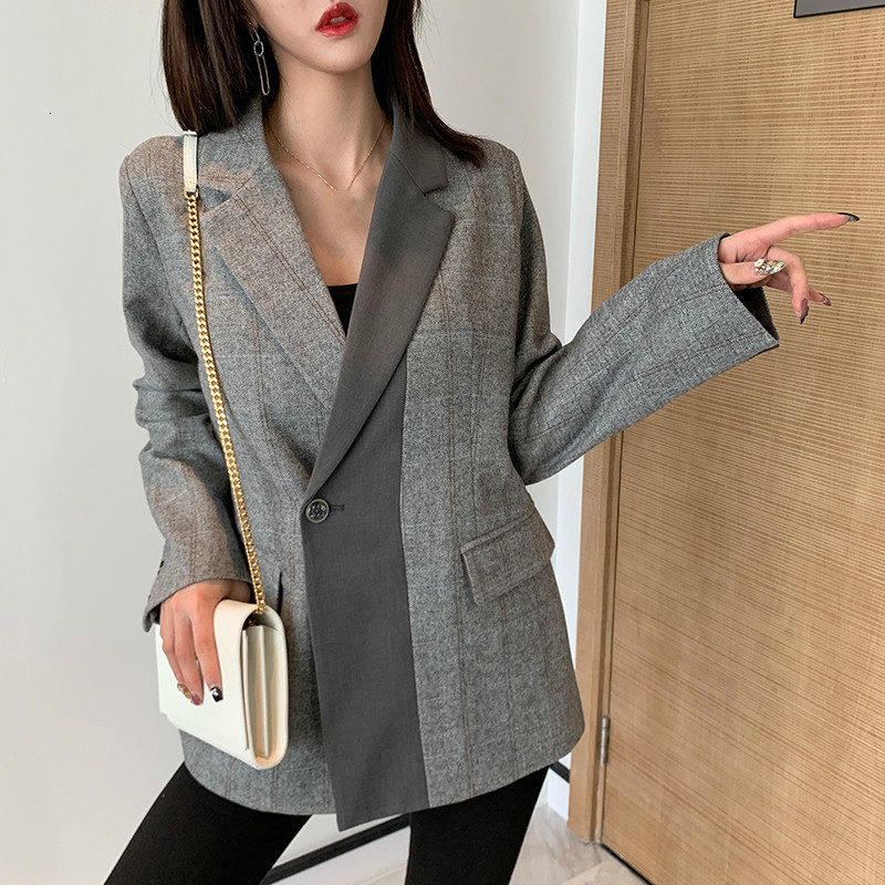LANMREM Retro Hit Color Patchwork Blazer For Women 2020 Spring New Korean Style Loose Casual Jacket Women Fashion Design PC396