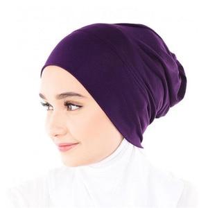 Image 5 - Muslim Women Girls Scarf Cap Cotton Breathable Hat Womens Turban Elastic Cloth Head Cap Hat Ladies Hair Accessories Wholesale