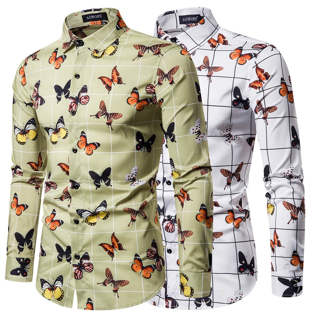 Butterfly Men Shirt Printed Shirts Ethnic Vintage Printing Slim Long Sleeve Dress Casual Formal Shirt Blouse Tops Chemise Homme