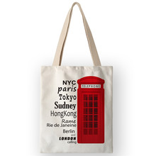 AKB01108 Classic Telephone Booth Guard Prints Eco Shopping Bags Women Lady Handbags British Style School Book Bags for Students(China)