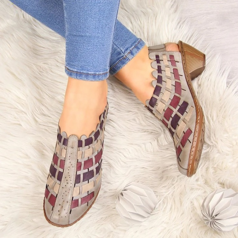 Women Sandals Fashion Cross-Knit Short Sandals Wedge Breathable Women Shoes Summer Casual PU Platform Shoes Gladiator Sandals
