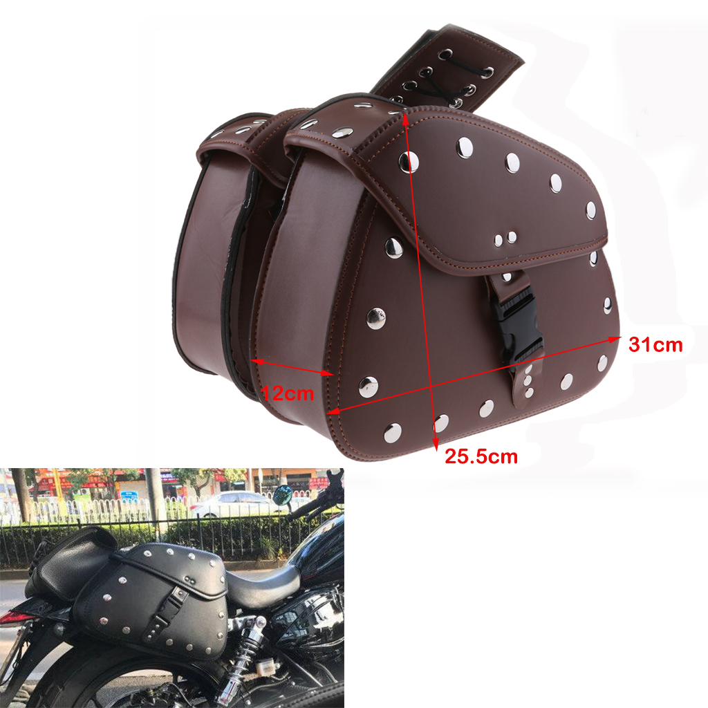 Unviersal Motorcycle Scooter PU Leather Saddlebag Luggage Tool Side Bag (Black)