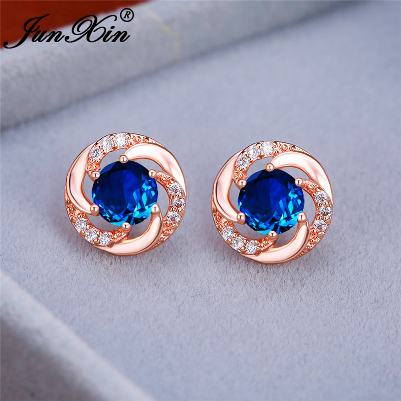 Vintage Female Crystal Round Earrings White Gold Rose Gold Rainbow Green Blue Zircon Gradient Wedding Stud Earrings For Women