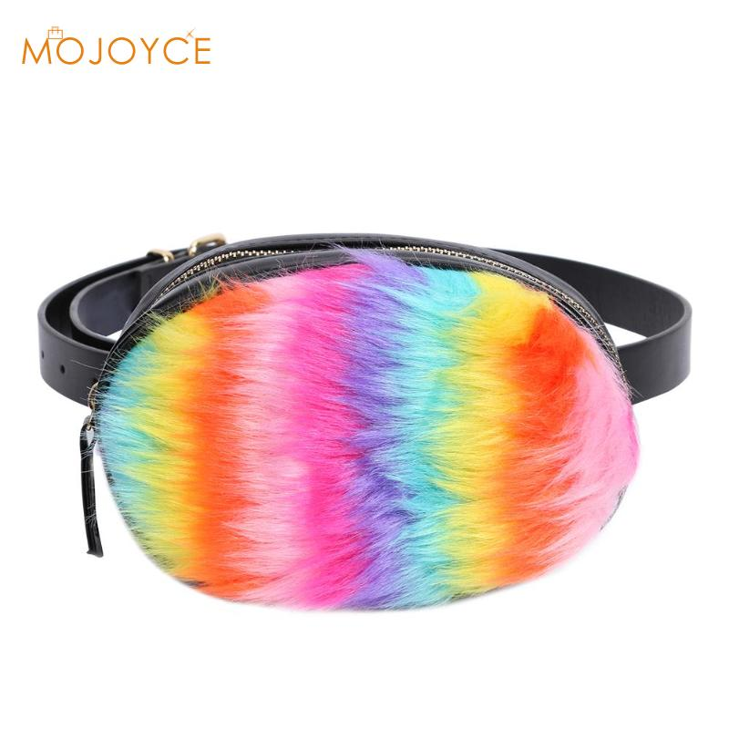 Funny Packs For Women  Faux Fur Waist Bags Lady Winter Colorful Plush Waist Packs Women PU Crossbody Shoulder Chest Bag