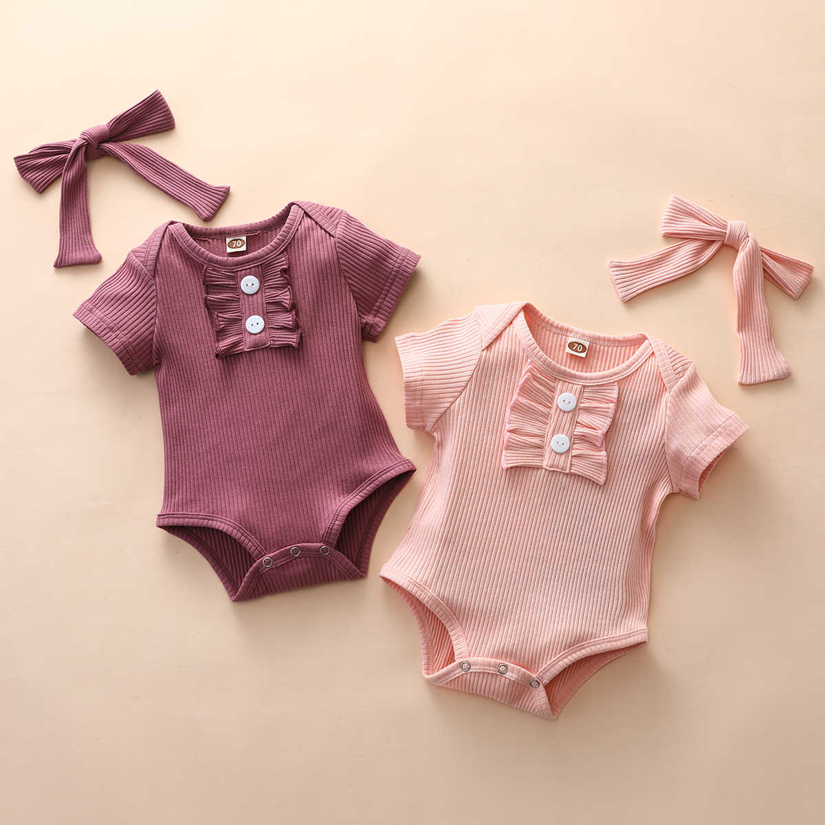 2020 Baby Zomer Kleding Pasgeboren Baby Meisjes Bodysuit Solid Geribbelde Jumpsuits Korte Mouwen Ruches Hals Speelpakjes Hoofdband