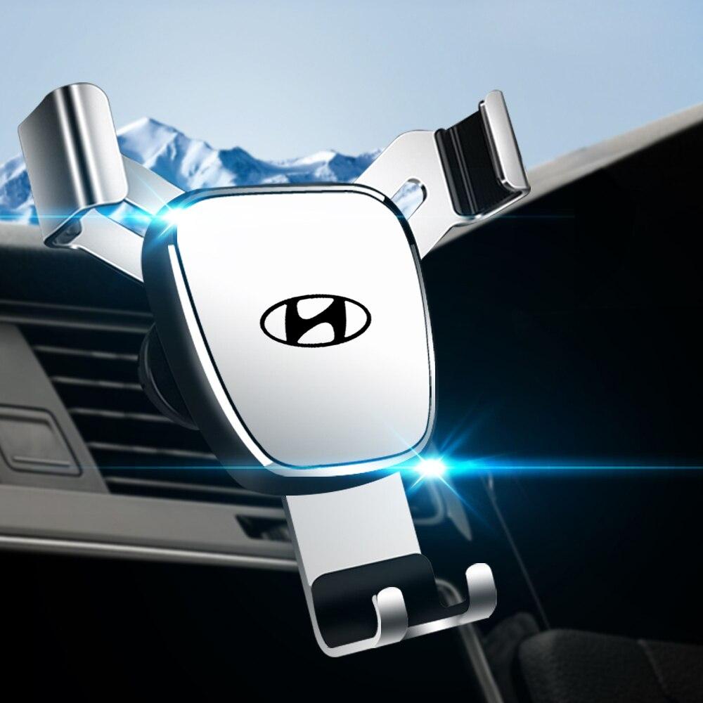 Suporte do telefone do carro 360 graus suporte fixo estável suporte de detecção por gravidade aperto automático para hyundai solaris i20 i30 ix20 ix35