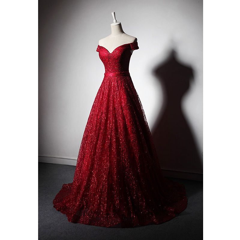 New Evening Dress Long Wine Red Tie Off The Shoulder Little Tail Bridal Dress Elegant Fashion Prom Party Princess Evening Gowns