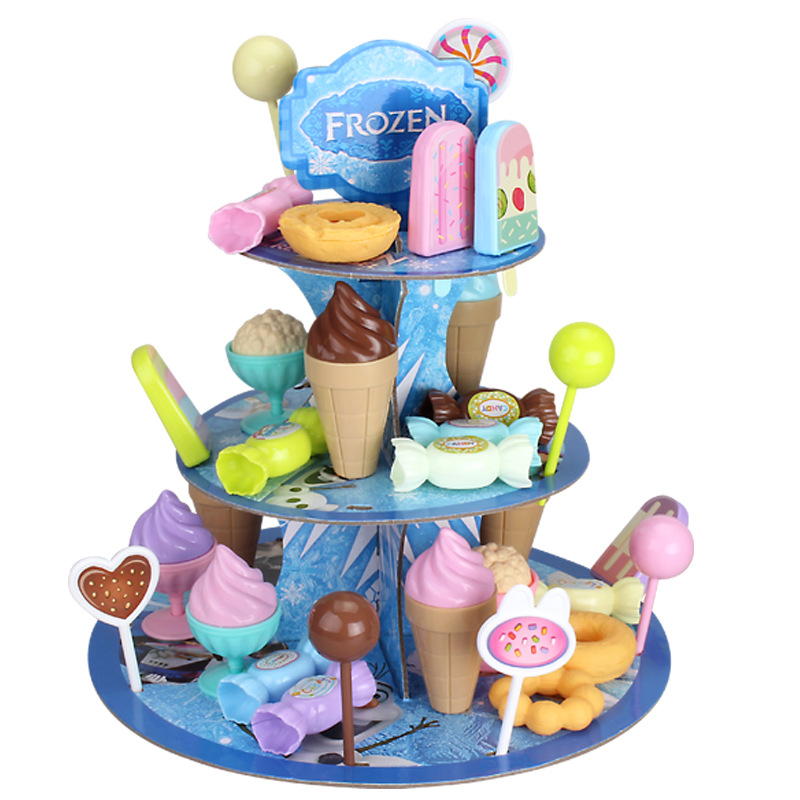 Kid DIY Birthday Cake Toy Set Simulation Candy Ice Cream Tray Dessert Rack Pretend Play Toy Set Safe Cute Children Girl Toy Gift
