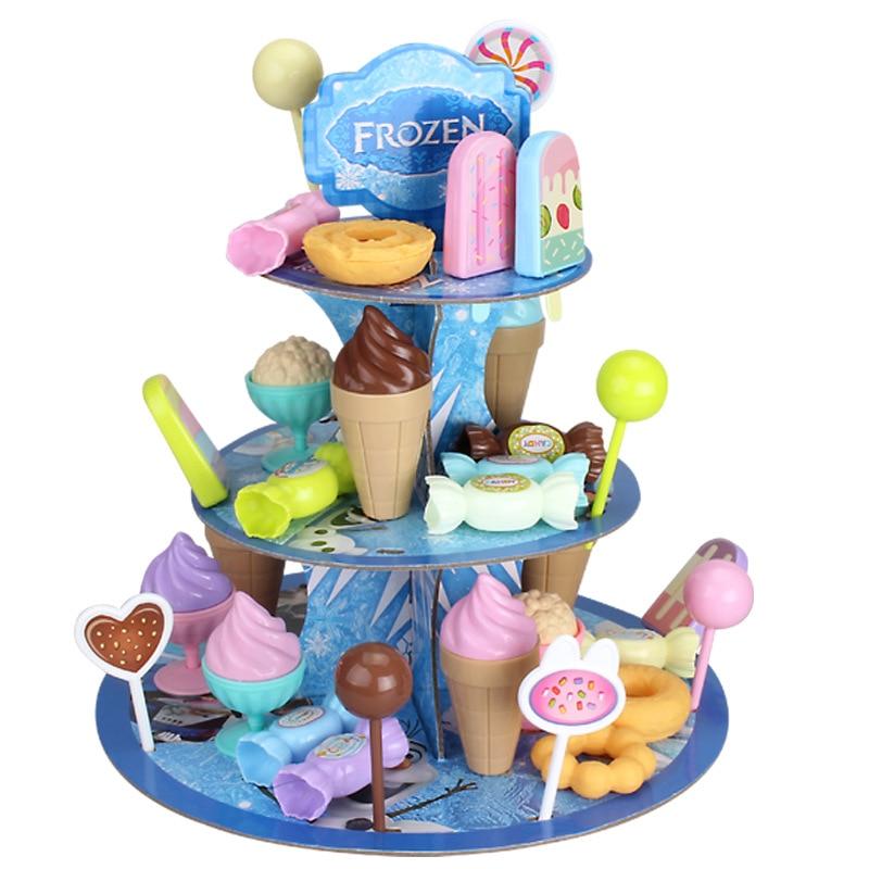 Kid DIY Birthday Cake Toy Set Simulation Candy Ice Cream Tray Dessert Rack Pretend Play Toy Set Safe Cute Children Girl Toy Gift