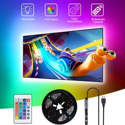 Magasin LED bande LED USB bande de LED lumière DC5V Flexible 5050SMD lampe à LED 3M RGB Led bande décoration de noël TV bureau rétro-éclairage Diode bande