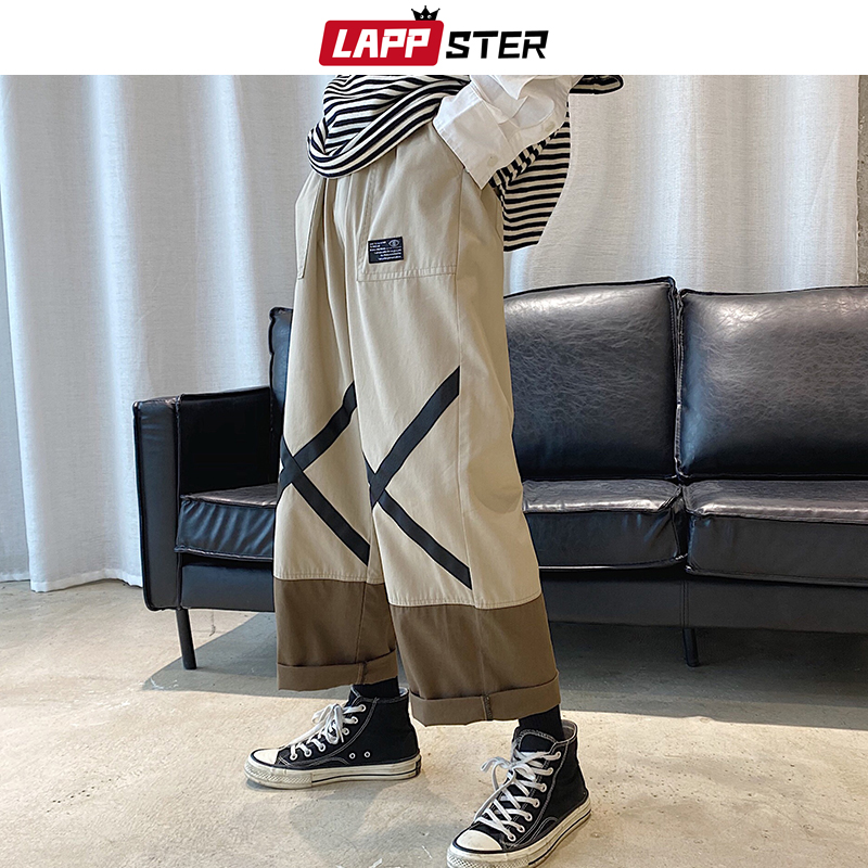 LAPPSTER Mens Korean Streetwear Harem Pants 2020 Man Kahaki Cargo Joggers Pants Male Oversized Color Block Fashion Trousers 5XL
