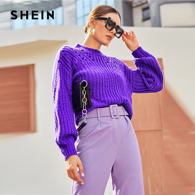 SHEIN Purple Drop Shoulder Pointelle Chunky Knit Sweater Women Tops Autumn Winter Solid Bishop Sleeve O Neck Casual Sweaters 2