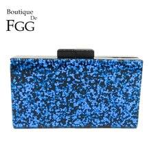 Boutique De Fgg Xanh Lấp Lánh Thời Trang Nữ Acrylic Tối Túi Xách Tay Kèm Ví Cứng Dép Nữ Đeo Túi