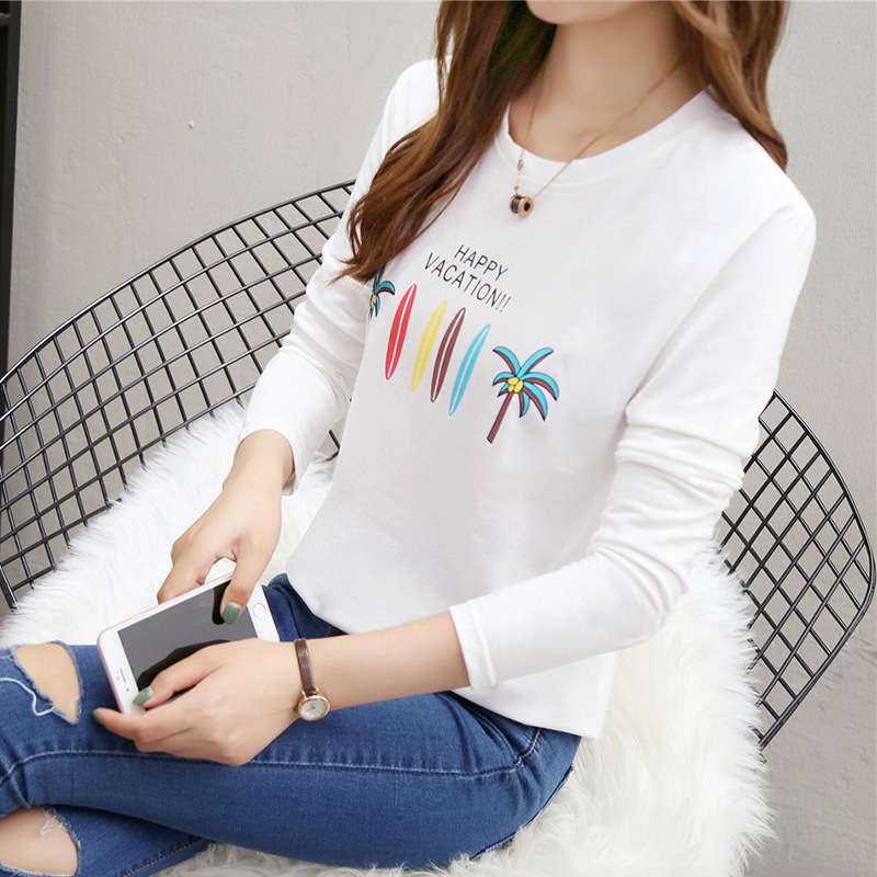 Photo Shoot <font><b>515</b></font> Autumn Clothing 2018 New Style Korean-style Fat Mm Plus-sized 200 Long-sleeved <font><b>T</b></font>-shirt Women's Base Shirt image