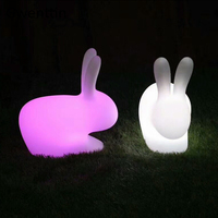 RGB 16 Colors Big Rabbit Night Light Home Decor Outdoor Landscape Lights LED Remote Control Bedroom Bedside Lamps Children Gifts