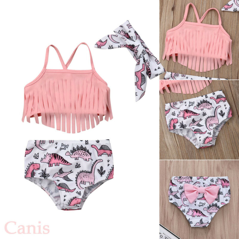 Cute Dinosaur Printed Bikini Toddler Kids Swimwear Swimsuit Baby Girls One Piece 2020 Summer Bathing Suit Children Beachwear