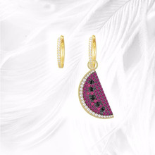 Jewelry Cubic Zirconia Luxury Brand Yellow Gold Color Asymmetric Fruit Watermelon Earrings For Fashion Gift