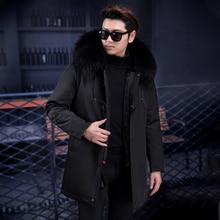 Nowy zimowy płaszcz męski fox futerał kołnierz duży klapa