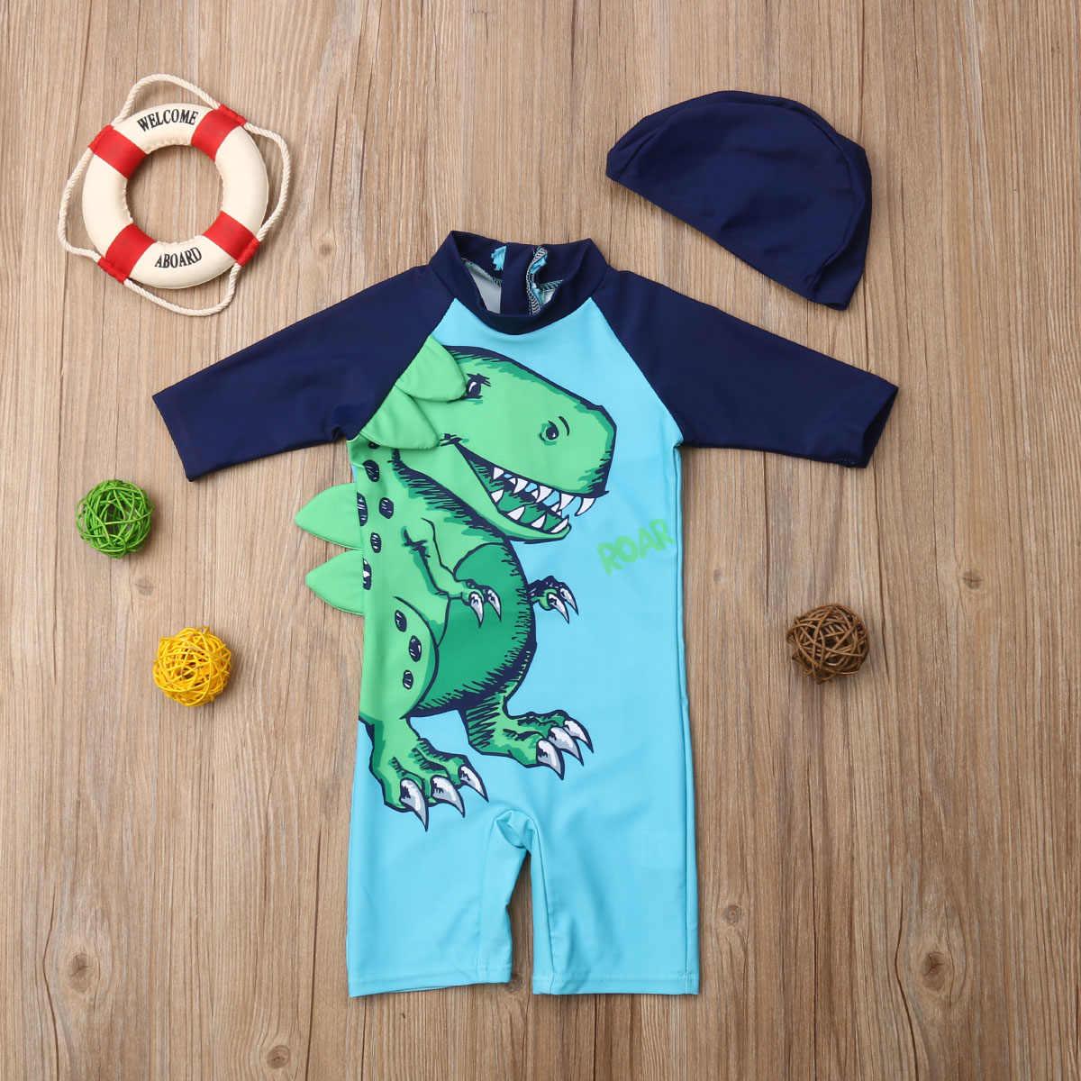 الصيف الساخن الطفل الاطفال الفتيان طفل صبي الكرتون ديناصور الشمس واقية ملابس السباحة طفح الحرس ملابس السباحة + قبعة لطيف الشاطئ طفل زي