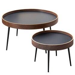 Nordic simples mesa de café de madeira maciça luz luxo moderno pequeno apartamento pequena mesa redonda sala estar redonda sofá criativo