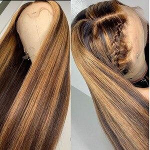 Image 3 - Hesperis 360 perruque frontale dentelle pré plumée 13x6 perruque cheveux humain avant dentelle brésilienne Remy droite couleur Blonde mettre en évidence perruques