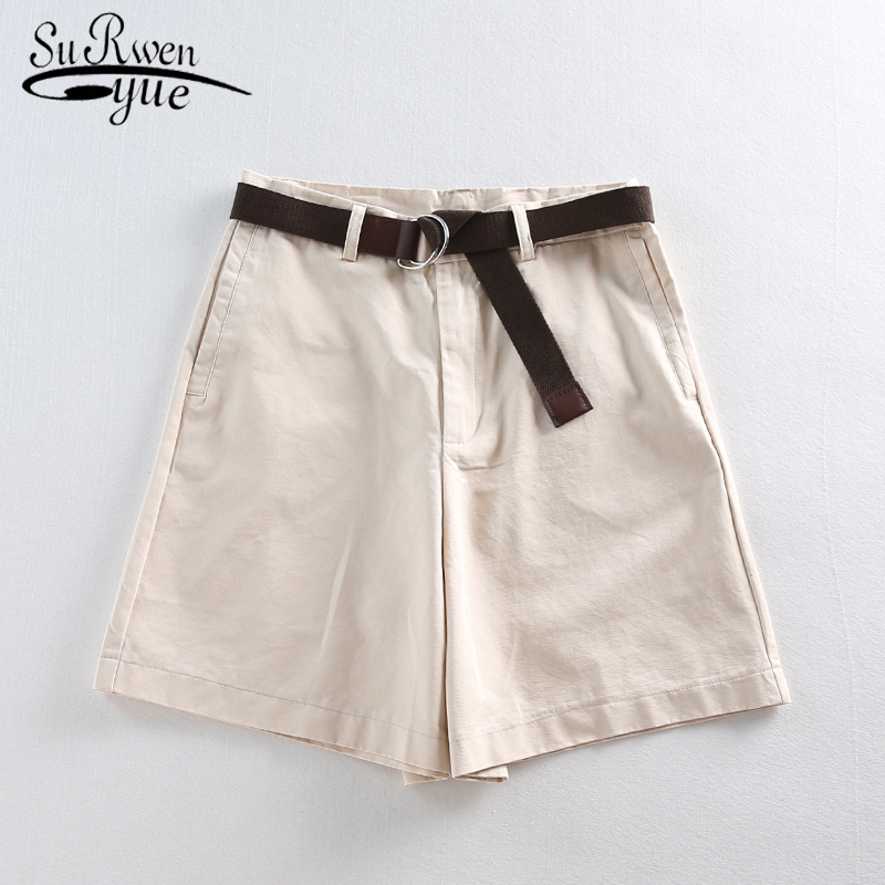2020 Casual Female A-line Solid Shorts With Belt Feminino Thin Shorts Summer Loose High Waist Women Wide Leg Shorts 7411 50