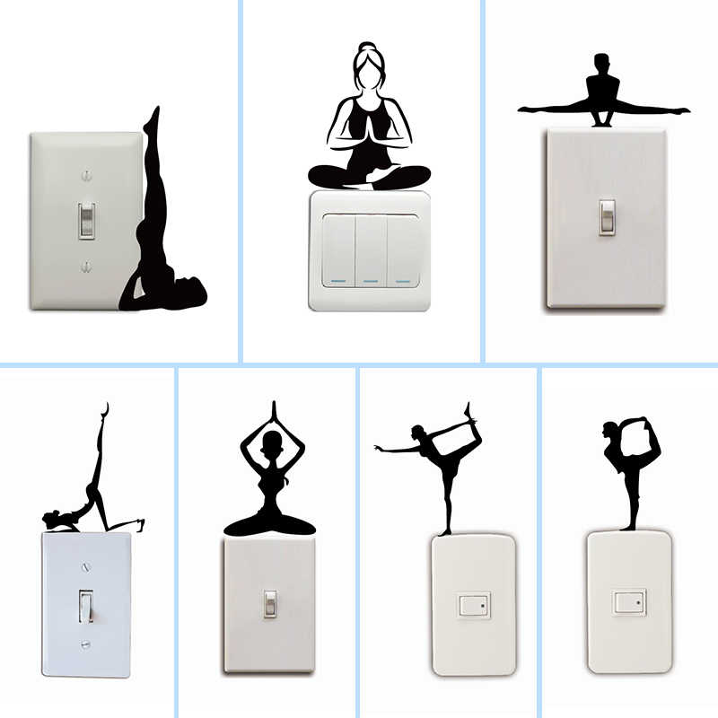 Fashion Yoga Meditation Switch Sticker Creative Cartoon Yoga Silhouette Wall Stickers For Bedroom Living Room Home Decor Stickers Home Decor Wall Stickers Home Decorhome Decor Aliexpress