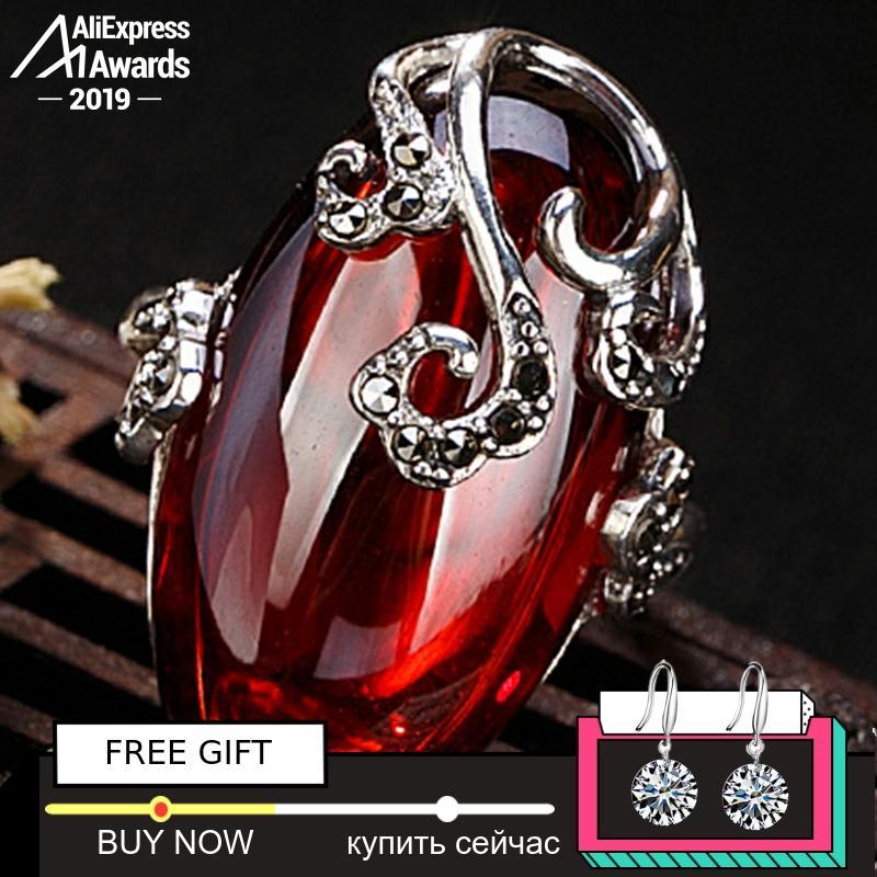 Black Friday S925 Fine Antique Shop Rings Ruby Rings Luxury Taste Women Handmade Vintage Natural Chalcedony Moldavite Peridot