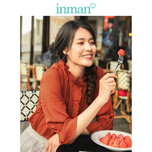 INMAN  Stand up Collar Literary Retro Hongkong Style Lacing Casual Women Two Pieces Suit