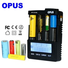OPUS BT-C3100 цифровое интеллектуальное зарядное устройство с 4 слотами и ЖК-дисплеем для Li-Ion NiCd NiMH AA AAA 10440 18650 аккумуляторных батарей