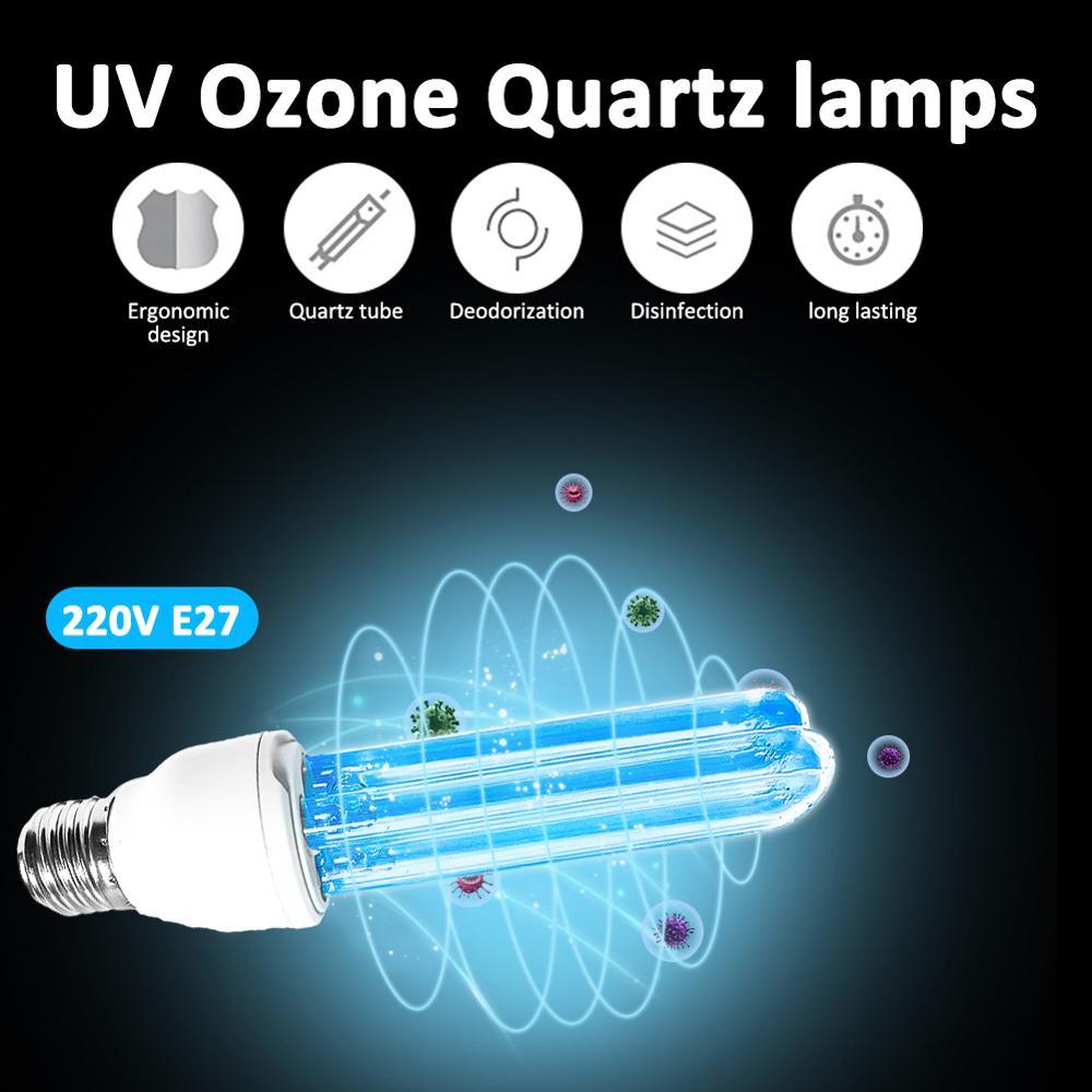 Newest Quartz UVC Germicidal Sterilization CFL Ozone Lamp bulb Ultraviolet light UV lamp E27 base for disinfect bacterial mites