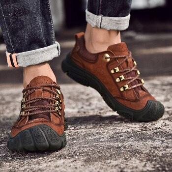 Handmade Men Shoes Natural Leather Men Flats High Quality Outdoor Men Casual Shoes Plus Size Comfortable Walking Shoes Men bossdun men