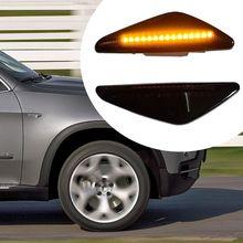 цена на 2X Smoke Lens Led Dynamic Side Marker Turn Signal Light Sequential Blinker Light For BMW X5 E70 X6 E71 E72 X3 F25 Amber Car Lamp