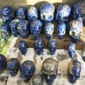 Natural Manua Sculpturel Skull Statue Blue Aventurine Head BoneHealing Feng Shui Decoration
