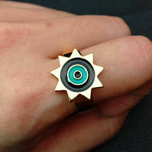 Enamel mixed color golden Filled colorful evil eye sunshine resizable ring(China)