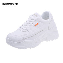 RGKWXYER New Womens Flat Shoes Female Lace Up Sneakers Platform Thick Soled Small White Student joker Casual Woman
