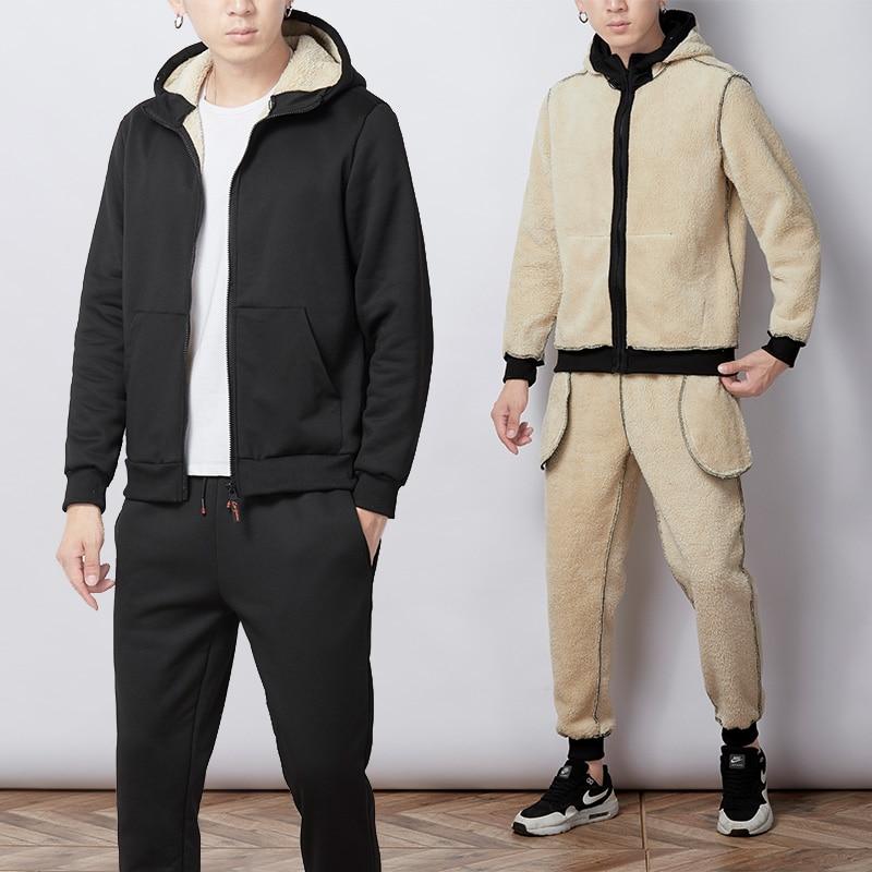 2019 Winter Thick Faux Shearling Warm Tracksuit Men Hooded Sweatsuit 2 Piece Jacket+Pants Men Set Sportwear Track Suit 4XL 5XL