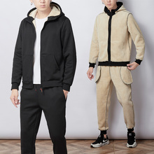 Chándal cálido de piel de oveja con imitación de piel gruesa para hombre, traje de chándal con capucha, chaqueta de 2 piezas y pantalones, conjunto para hombre, ropa deportiva, 4XL, 5XL, Invierno 2019